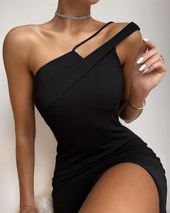 One Shoulder Solid Sleeveless Bodycon Dress