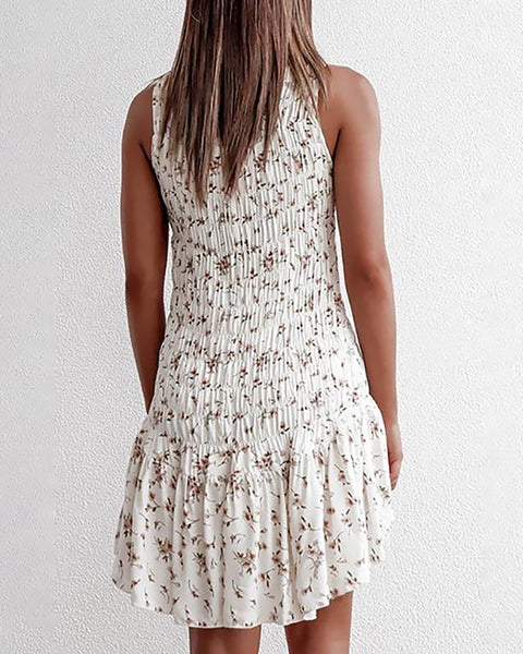Sleeveless Ruched Ruffles Floral Print Dress