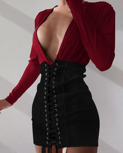 Plunge Contrast Color Lace-up Bodycon Dress