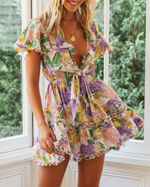 Floral Print Tie Front Fit & Flare Dress