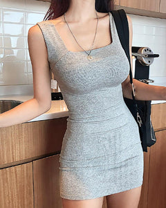 U-neck Solid Mini Dress