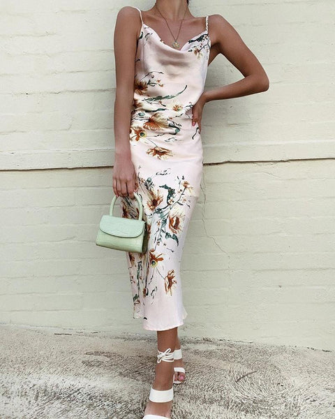 Spaghetti Strap Floral Print Backless Dress