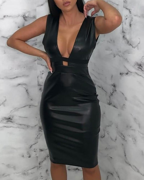 Solid PU Deep V Sleeveless Dress
