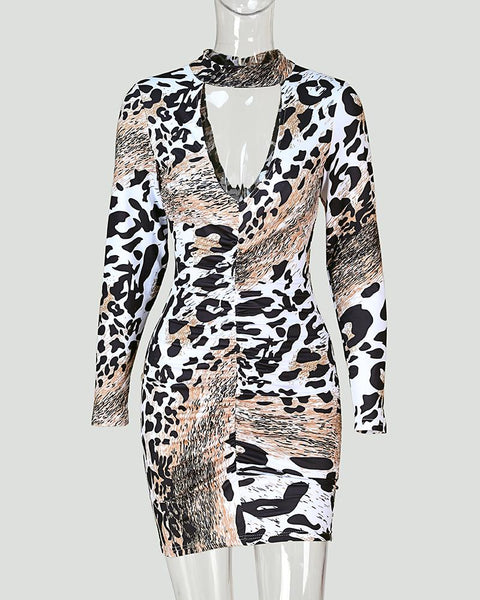 Leopard Print Cut Out Bodycon Dress