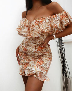 Floral Off Shoulder Ruffle Trim Dress