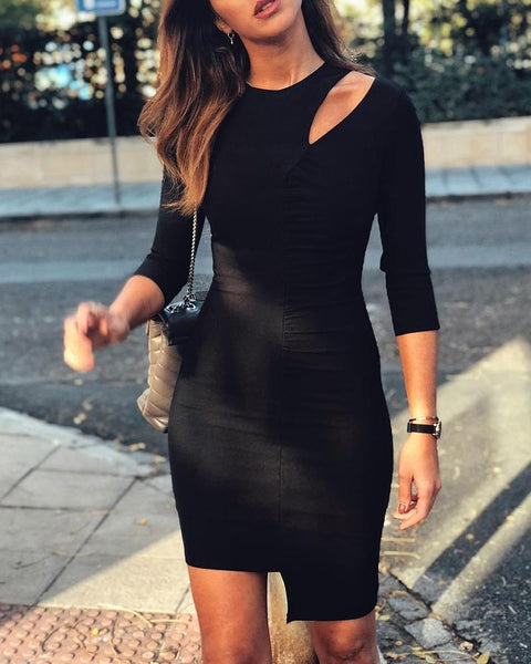 Solid Cutout Ruched Irregular Dress