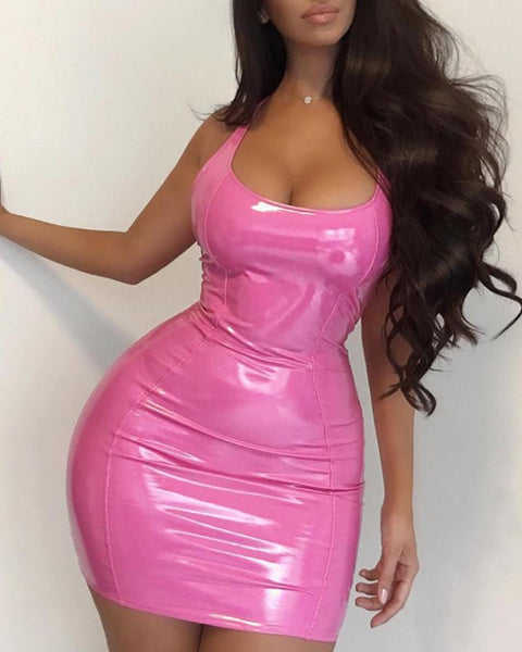 Solid Sleeveless Bodycon Backless Dress