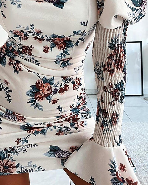Floral Print Shirring Puff Sleeve Bodycon Dress