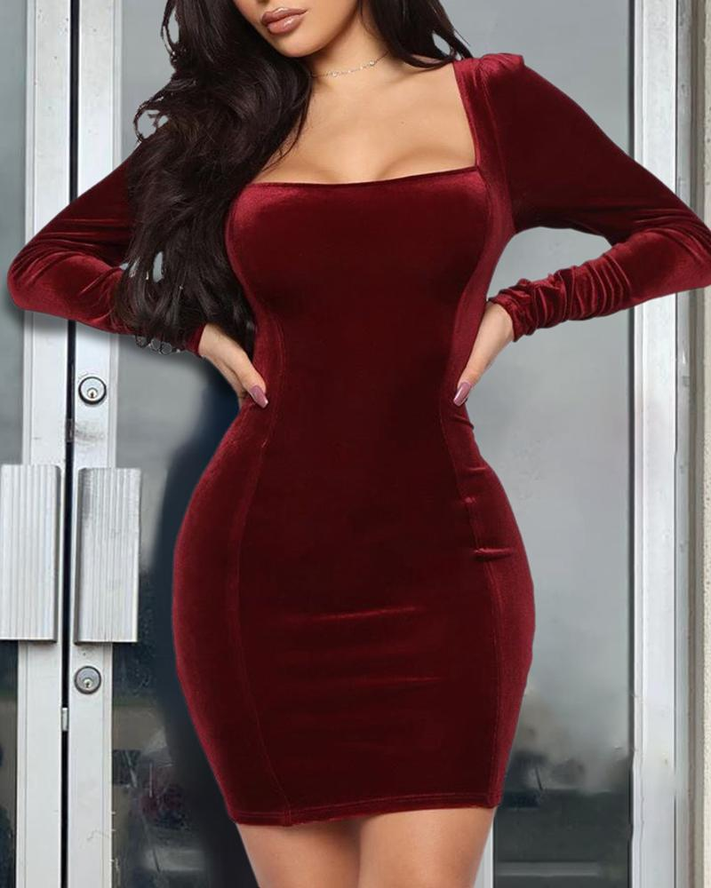 Solid Square Neck Long Sleeve Bodycon Dress