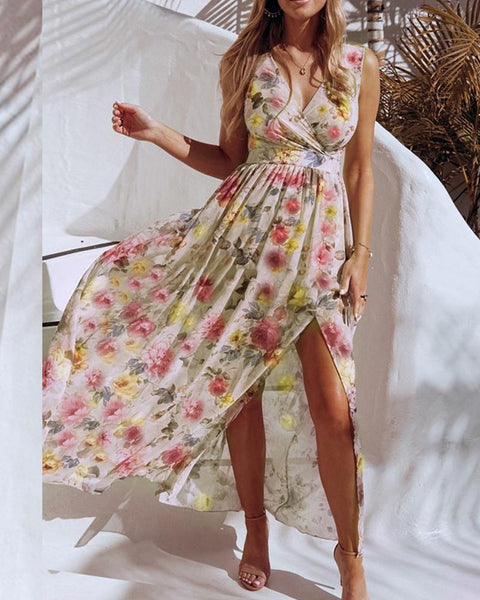 Floral Print V-neck Slit Casual Dress