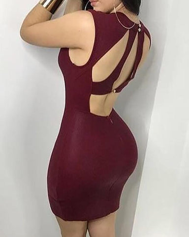 Sexy Cut Out Back Cocktail Bodycon Mini Dress