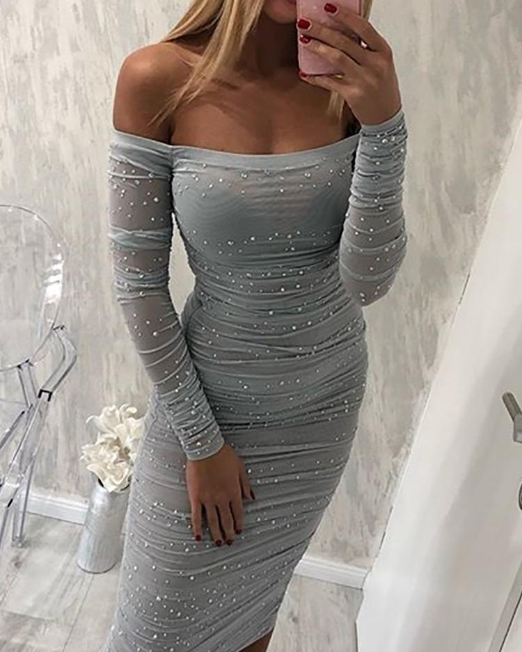 Beading Off Shoulder Ruched Bodycon Dress
