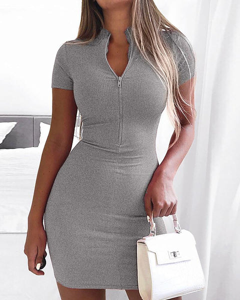 Solid Zipper Design Short Sleeve Dress