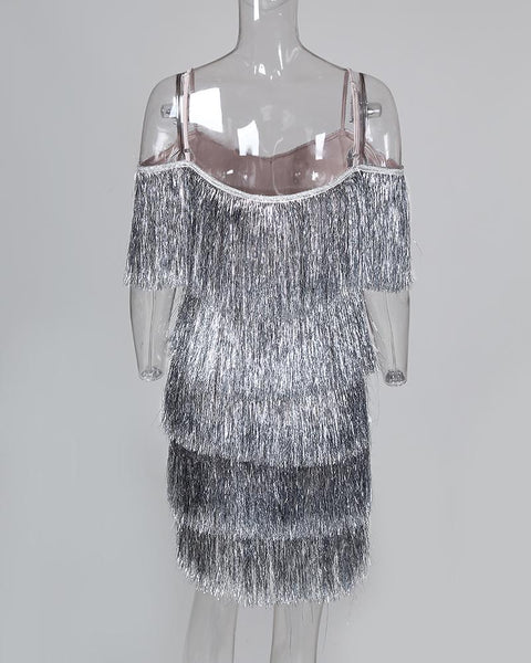 Glitter Cold Shoulder Tassel Dress
