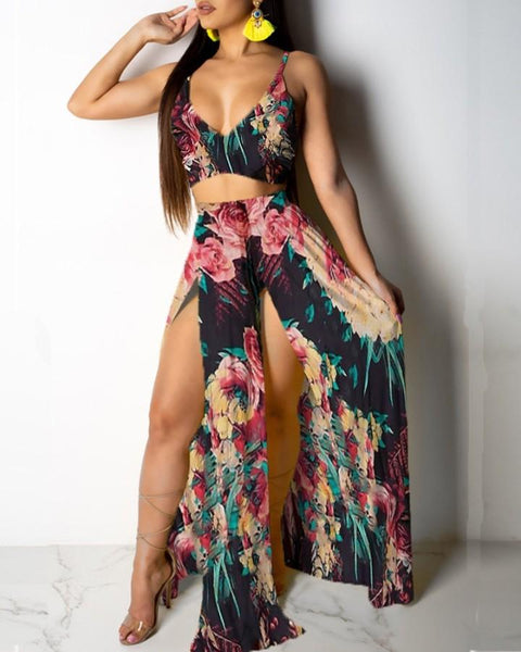 Tropical Print Cami Top & Thigh Slit Skirt Sets