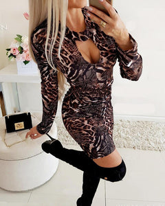 Leopard Print Cut Out Dress