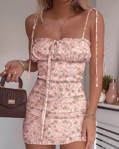 Floral Print Spaghetti Strap Shirring Dress