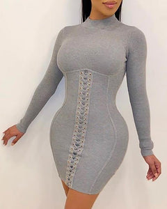 Solid Eyelet Lace-Up Bodycon Dress