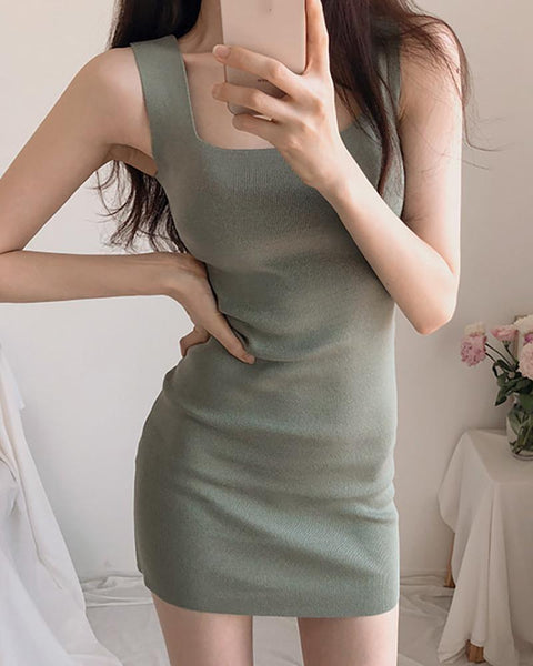 Thick Strap U-neck Solid Dress