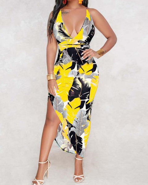 Leaf Print Crisscross Back Asymetrical Dress