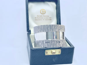 Gerald Benney rare napkin ring. A lovely piece of silverware hallmarked London 1972.