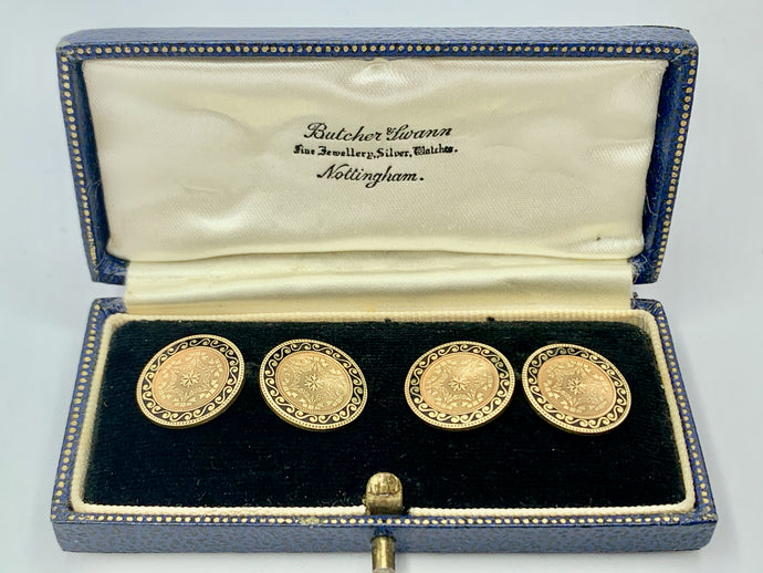 1920s 14ct Antique Gold & Enamel Cufflinks