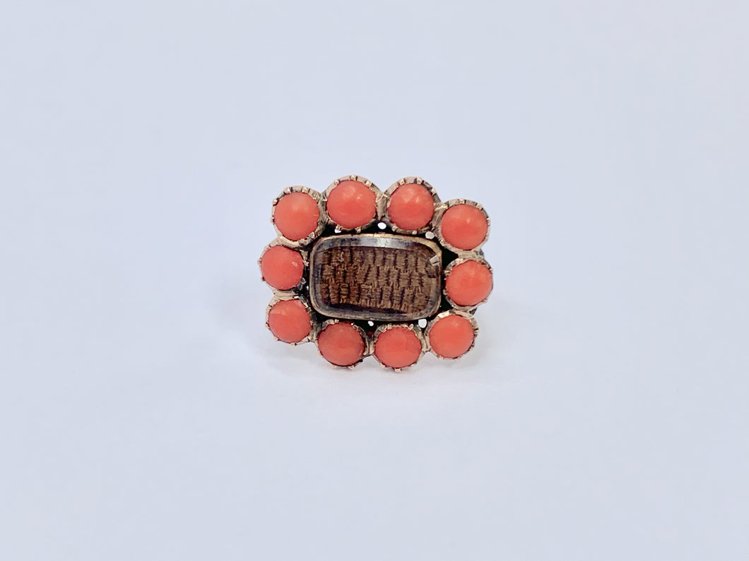 Georgian 9ct Gold Mourning Brooch. Orange Coral set in 9k..