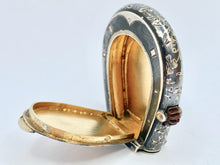 Load image into Gallery viewer, Rare Antique Silver, Gold and Niello Horseshoe Vesta Case