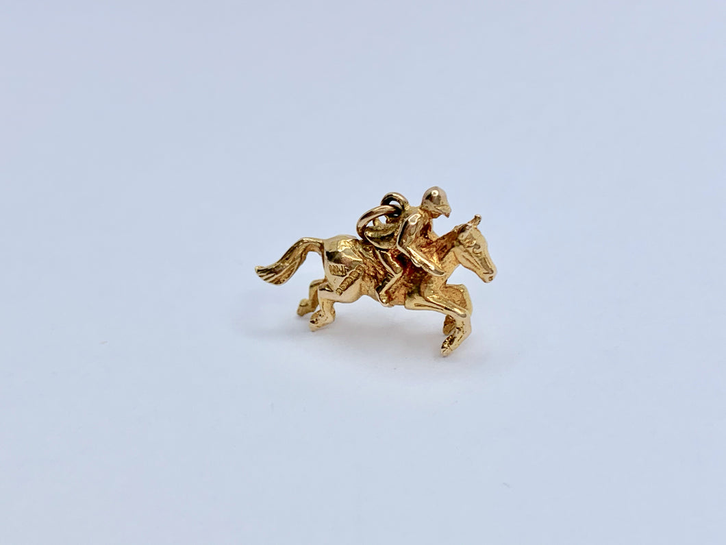Vintage 9ct Gold Horse & Rider Pendant