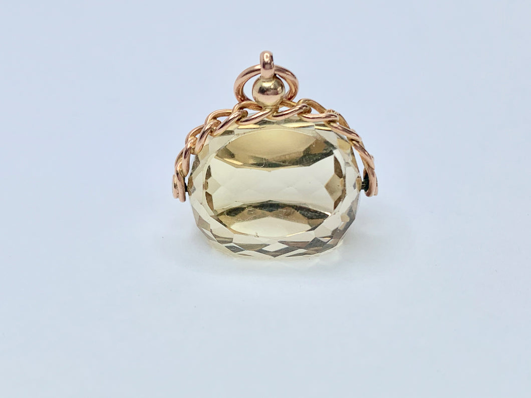 9ct Gold Edwardian Citrine Spinner Fob