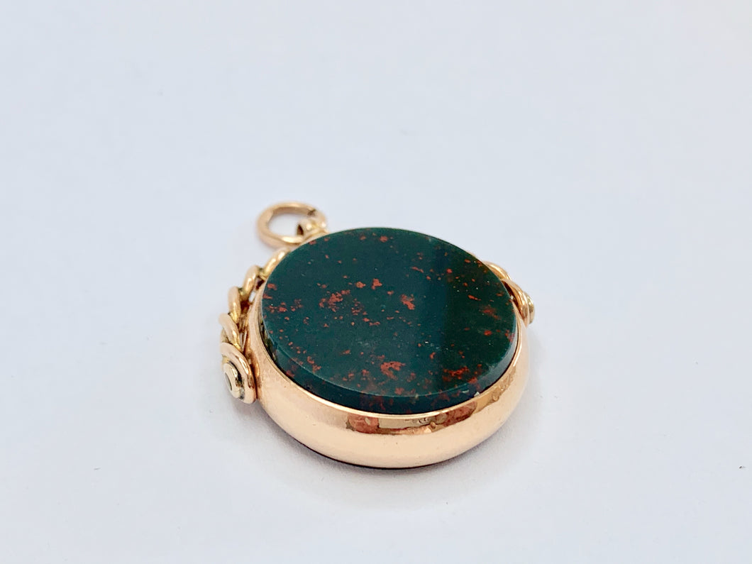 Victorian 9ct Gold Large Bloodstone Spinner Fob