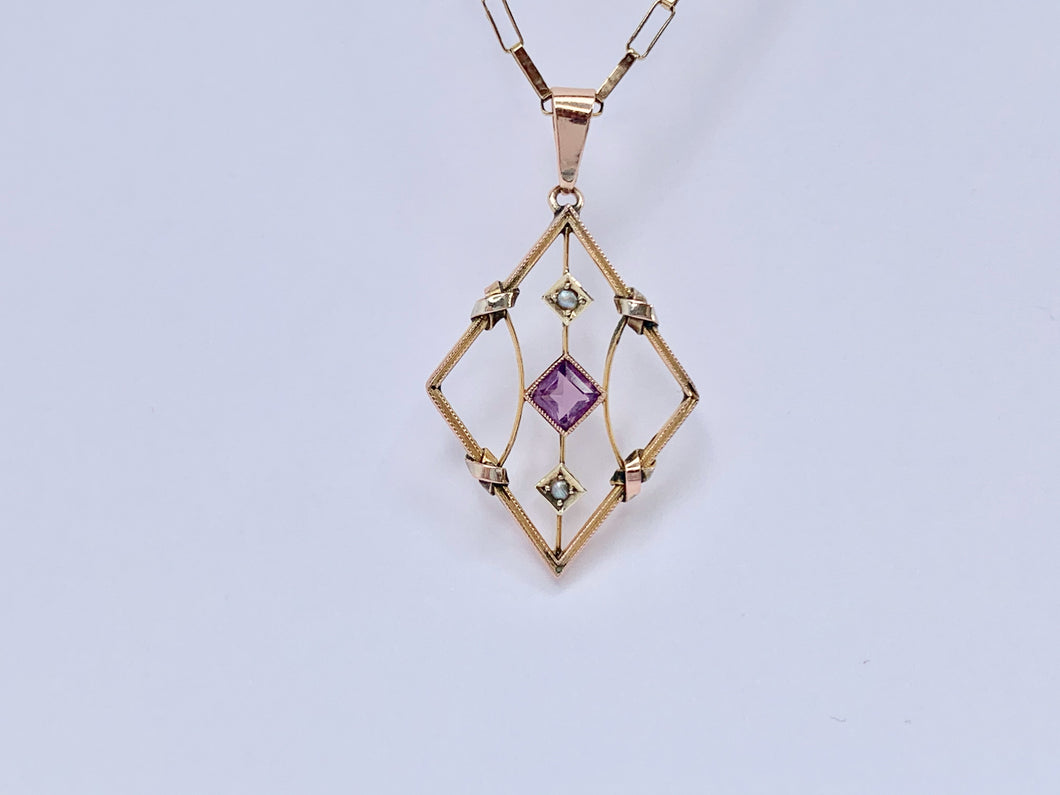 Edwardian 9ct Gold Amethyst and Pearl Necklace