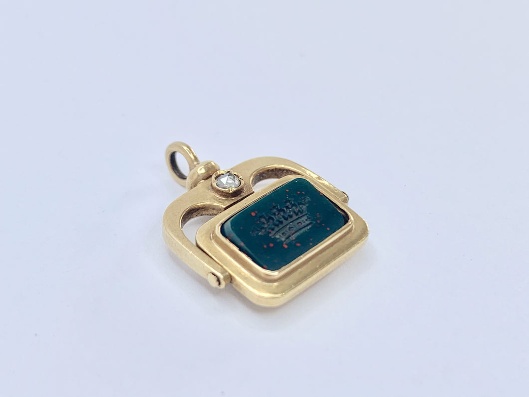 Victorian 18ct Gold Bloodstone & Diamond Intaglio Spinner Fob