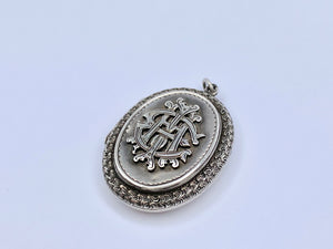 Antique Victorian Silver Amity Eternity Infinity Locket