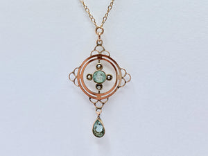 Edwardian 9ct Gold Seed Pearl and Topaz Necklace