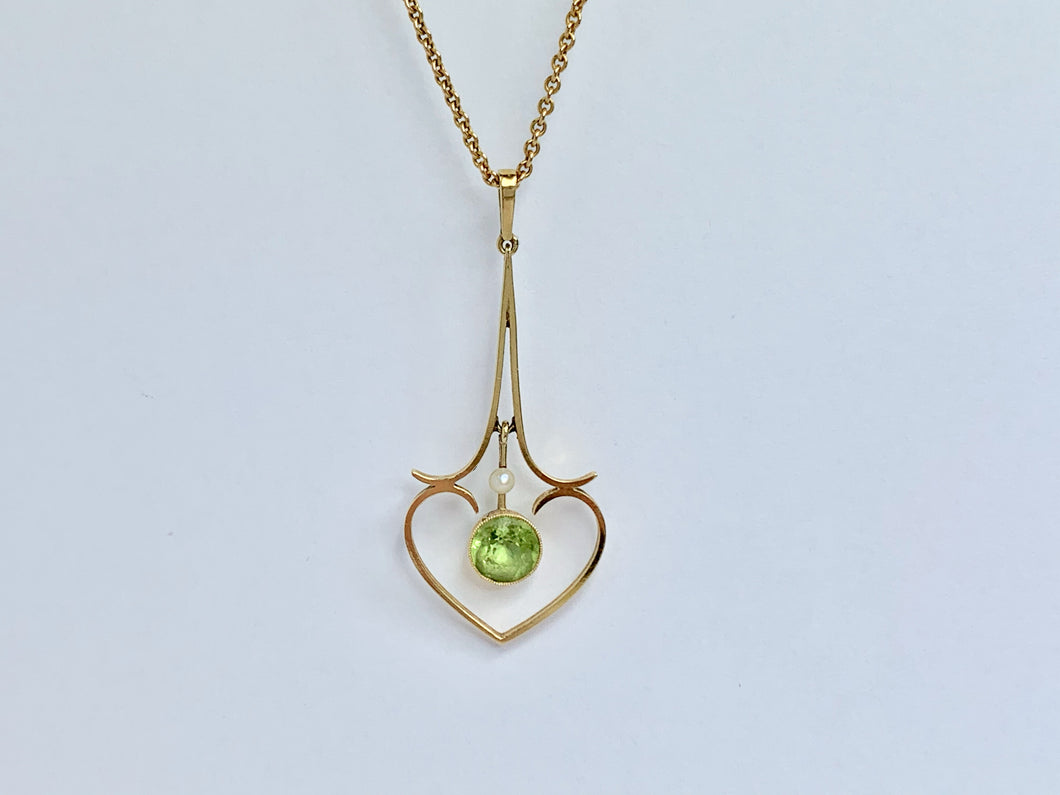 Edwardian 15ct Gold Peridot And Pearl Necklace
