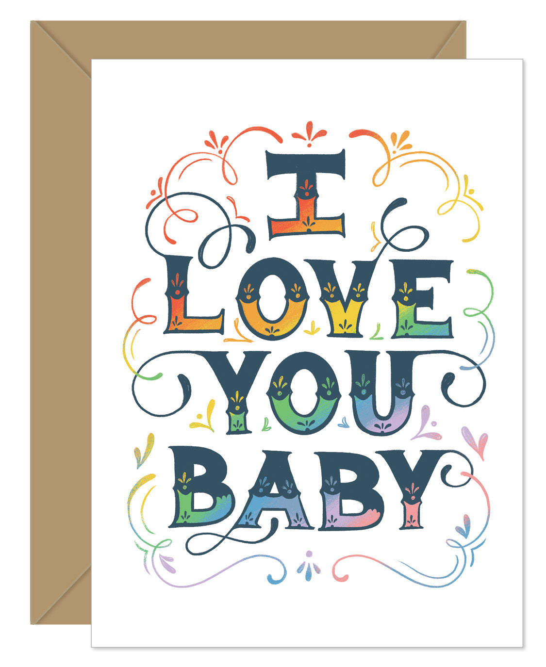 I Love You Baby Rainbow Greeting Card