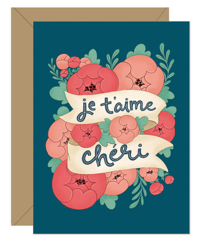NEW! Je T'aime Cheri French Greeting Card