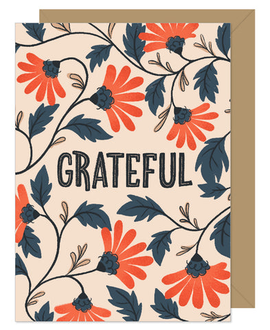 Grateful Vintage Floral Hand Lettered Card by Hello Sweetie Design