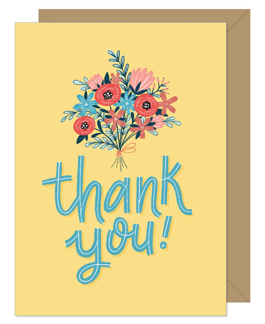 Thank You Bouquet in Yellow Hand lettered card by Hello Sweetie
