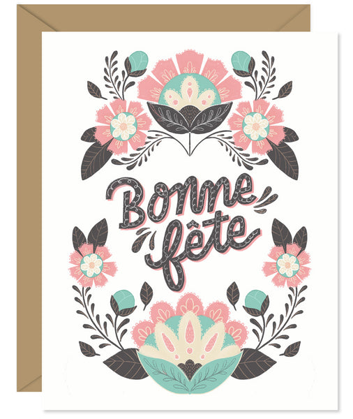 Bonne Fete French Birthday Card  - hand lettered greeting card from Hello Sweetie in Halifax, Nova Scotia by Hello Sweetie Design