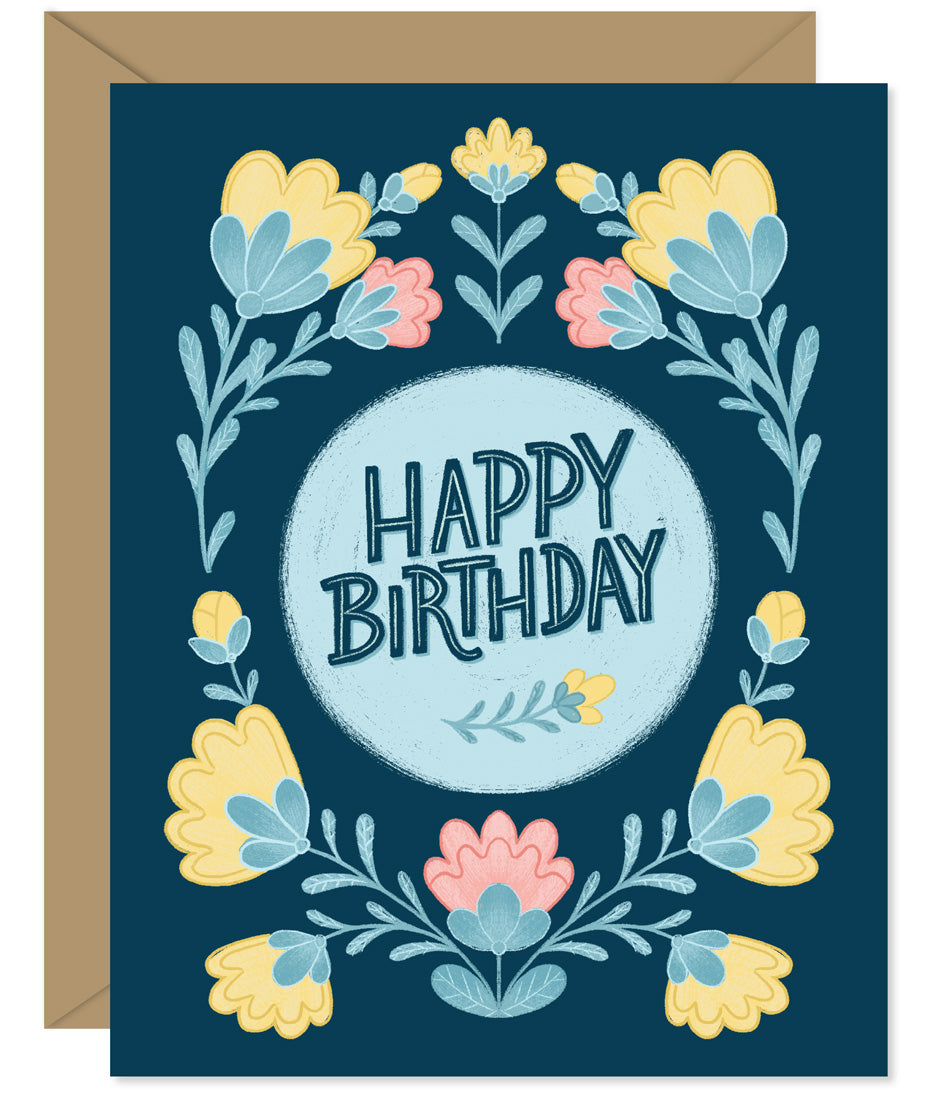Folksy Floral Birthday Card - hand lettered greeting card from Hello Sweetie in Halifax, Nova Scotia by Hello Sweetie Design