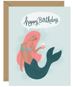 Mermaid Rose Happy Birthday Card illustrated and hand-lettered birthday card from the Hello Sweetie line, packaged and printed in Halifax, Nova Scoita
