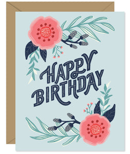 Modern Floral Illustration Birthday Card  - hand lettered greeting card from Hello Sweetie in Halifax, Nova Scotia by Hello Sweetie Design