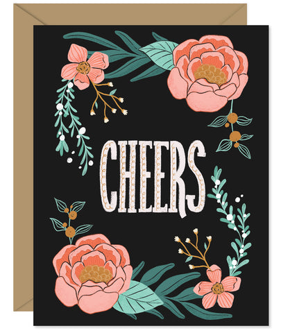 Black Modern Floral 'Cheers' card Hand-lettered & Illustrated card from the Hello Sweetie Celebration Cards.