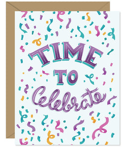 Time to Celebrate Hand-lettered & Illustrated card from the Hello Sweetie Celebration Cards.