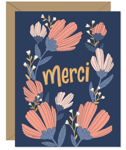 Merci! French for Thank You Hand-lettered & Illustrated card from the Hello Sweetie Thank You Cards.