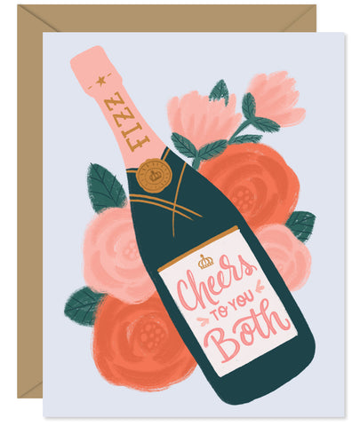 Cheers to you both illustrated champagne wedding card - Hand lettered and illustrated by Hello Sweetie printed and packaged in Halifax, Nova Scotia