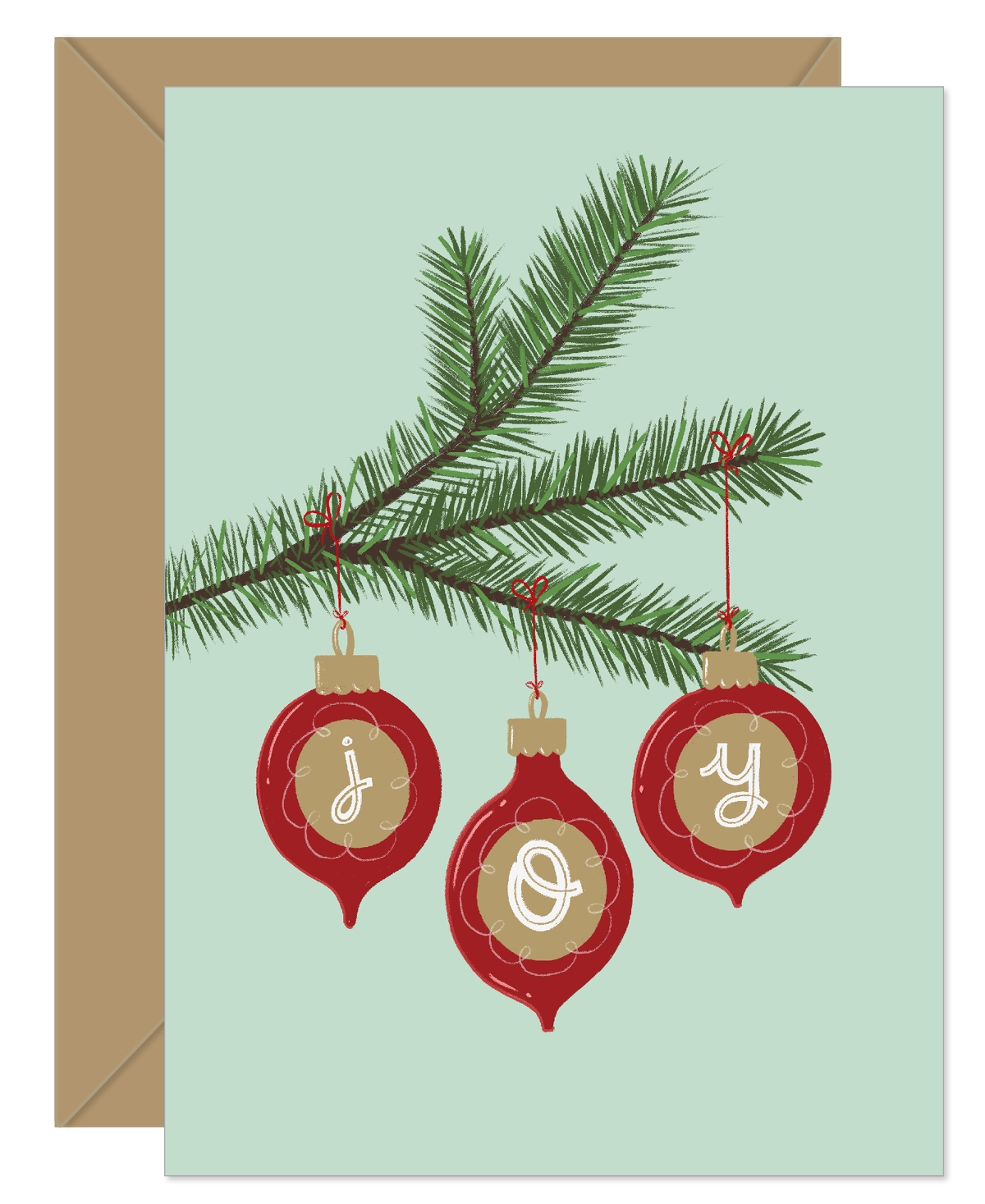 Joy Ornaments on Fir Tree Holiday Card