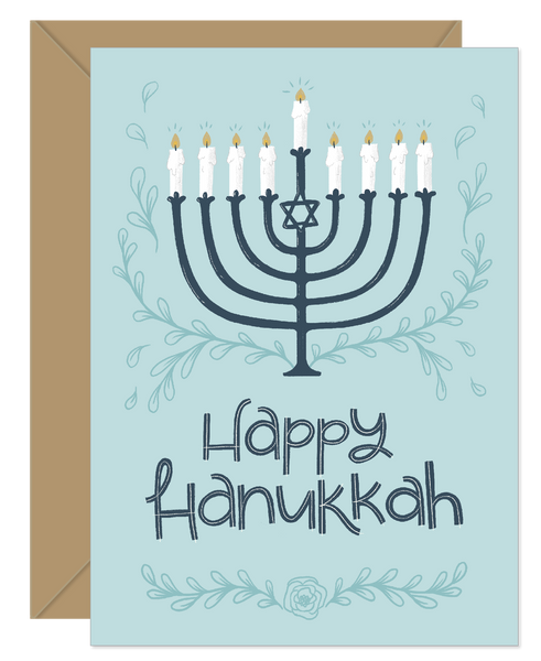 Blue Menorah Hanukkah Holiday Card